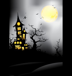 silhouette castle at night vector image