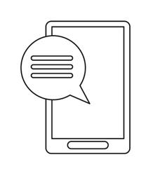 smartphone communication bubble speech outline vector image vector image