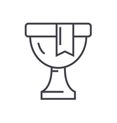 trophywinner cup line icon sign vector image