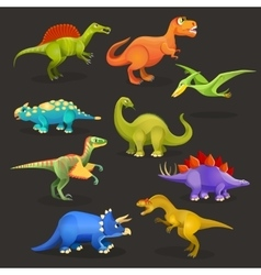 Various dinosaurs set of jurassic period funny vector