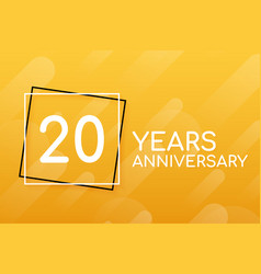 20 years anniversary emblem anniversary icon or vector image