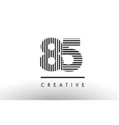 85 black and white lines number logo design vector
