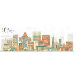 Abstract el paso skyline with color buildings vector