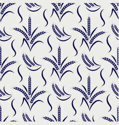 Agriculture seamless pattern with wheat branches vector