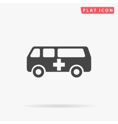 Ambulance simple flat icon vector