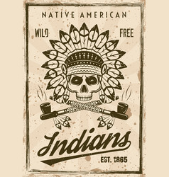 american indians poster in vintage style vector image