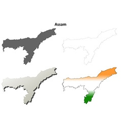 Assam blank detailed outline map set vector