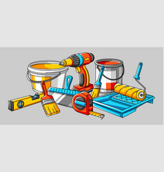 background with repair working tools equipment vector image