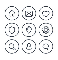 basic web icons on white linear style vector image