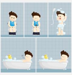 Bath toilet shower time salary man cartoon vector