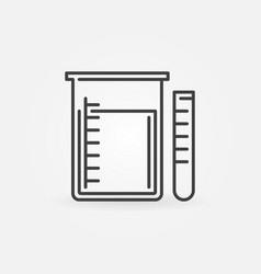 Beaker and test tube outline icon vector