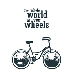 bicycle slogan graphic with camping tent for vector image
