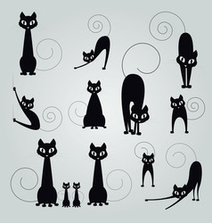 black cat silhouette collection design vector image