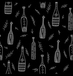 bottles in boho style seamless pattern vector image