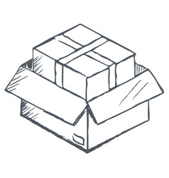 Box ecommerce sketch for delivery online vector