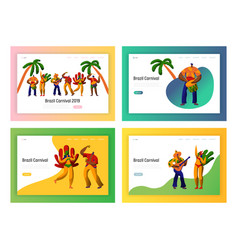 brazil carnival party dancer landing page set vector image