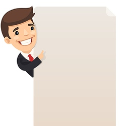 Businessman looking at blank poster vector