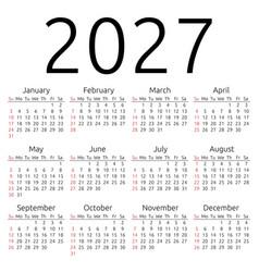 calendar 2027 sunday vector image