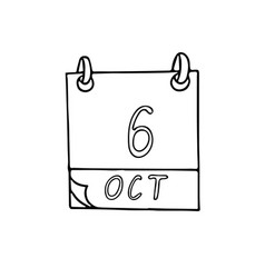 Calendar hand drawn in doodle style october 6 day vector