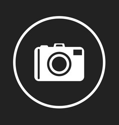 camera icon logo on black background flat vector image