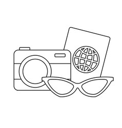 Camera with passport and sunglasses vector
