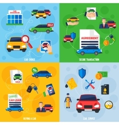 Car Dealership 4 Flat Icons Square vector