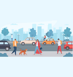 cars on city road people walking with dog and vector image