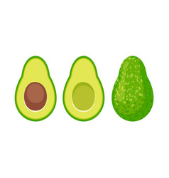 cartoon avocado icon set vector image