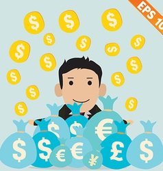 Cartoon Businessman with financial money vector