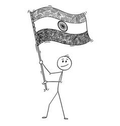 cartoon of man waving the flag of republic vector image