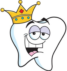 Cartoon tooth wearing a crown vector image