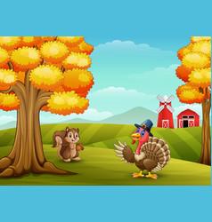 Cartoon turkey with squirrel in farm background vector