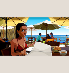 Cartoon woman flipping through the menu at beach vector