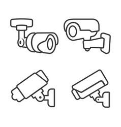 cctv line icon closed circuit television camera vector image