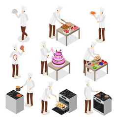 Character chef cooks 3d icon set isometric view vector