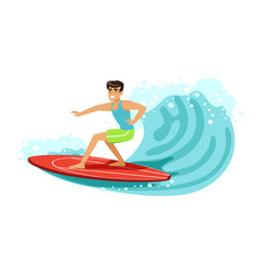 Cheerful male surfer riding a big wave water vector