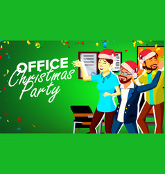 christmas party in office new year s hats vector image