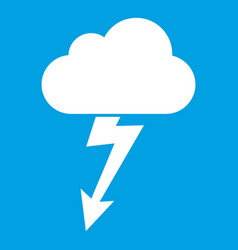 Cloud with lightning icon white vector