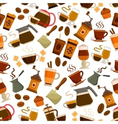 Coffee drinks desserts seamless pattern vector image