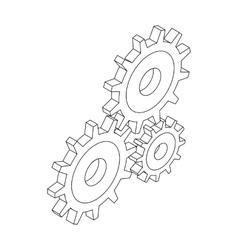 Cogwheels icon isometric 3d style vector image