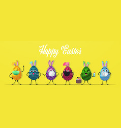 colorful decorated eggs with rabbit ears in vector image