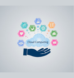 computer cloud with hand vector image
