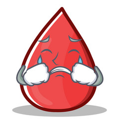 Crying blood drop cartoon mascot character vector