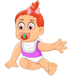Cute baby girl cartoon waving vector