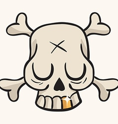cute skull with golden tooth vector image