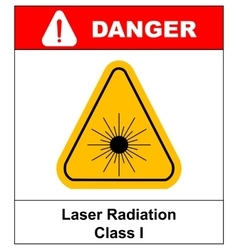 Danger laser radiation Class I symbol in yellow vector