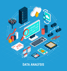 data analysis isometric set vector image