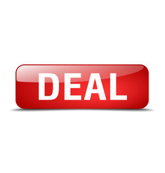 Deal red square 3d realistic isolated web button vector