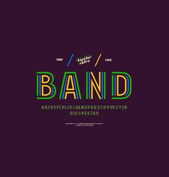 Decorative striped sans serif font vector