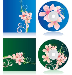 disc covers with flowers vector image